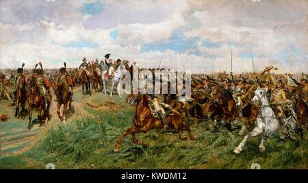 1807, FRIEDLAND, by Ernest Meissonier, 1861-75, French painting, oil on canvas. The Charge of the French Cuirassiers - Stock Photo
