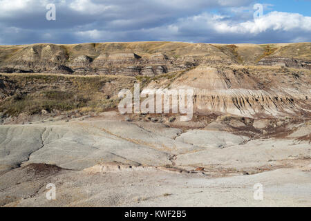 Eroded slopes in Alberta badlands - Stock Photo