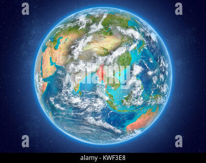Myanmar in red on model of planet Earth with clouds and atmosphere in space. 3D illustration. Elements of this image - Stock Photo