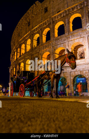 Horse Carriage at The Colosseum by Night Rome, Lazio, Italy - Stock Photo
