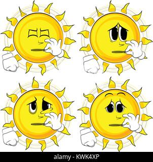 Cartoon sun zipping his mouth. Collection with sad faces. Expressions vector set. - Stock Photo