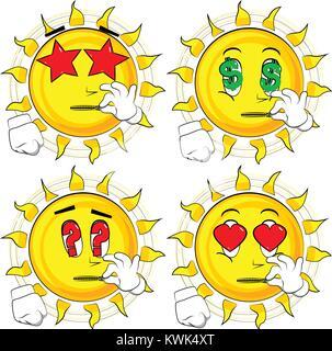 Cartoon sun zipping his mouth. Collection with various facial expressions. Vector set. - Stock Photo