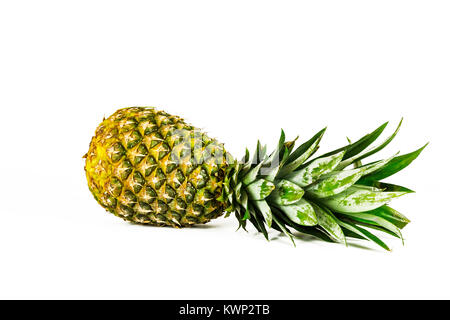 A large ripe pineapple lies on a white background - Stock Photo