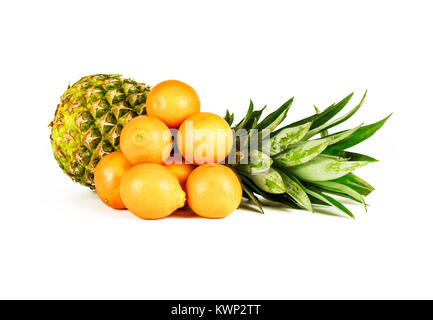 On a white background there is a large ripe pineapple and a number of mandarins - Stock Photo