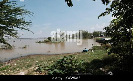 Borei Shoreline at Takeo, Cambodia Decrepit Third World Underdeveloped Country South East Asia Unseen and Forgotten - Stock Photo