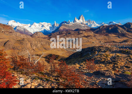 Monte Fitz Roy (also known as Cerro Chalten) aerial view. Fitz Roy is a mountain located near El Chalten, in the - Stock Photo