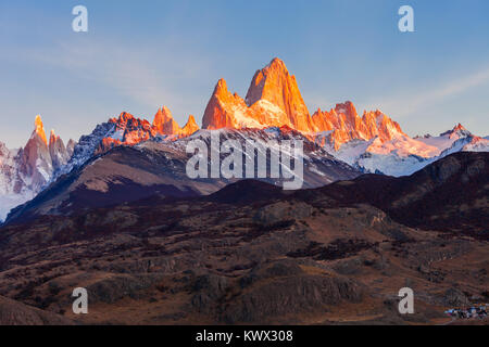 Monte Fitz Roy (also known as Cerro Chalten) aerial sunrise view. Fitz Roy is a mountain located near El Chalten, - Stock Photo