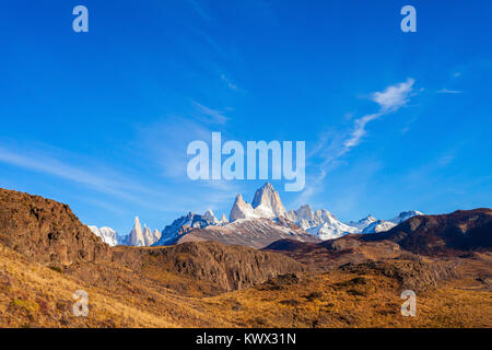 Fitz Roy mountain panoramic view. Fitz Roy is a mountain located near El Chalten village in the Southern Patagonia - Stock Photo