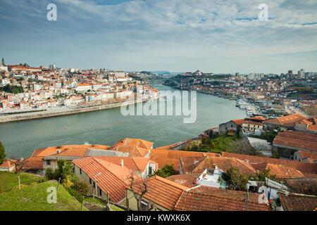 Porto and Vila Nova de Gaia in Portugal. - Stock Photo