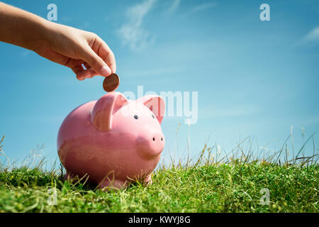 Child hand inserting coin and saving money in piggy bank with grass and blue sky background - Stock Photo