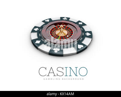 Casino roulette wheel on the casino chip. 3d illustration. isolated white - Stock Photo