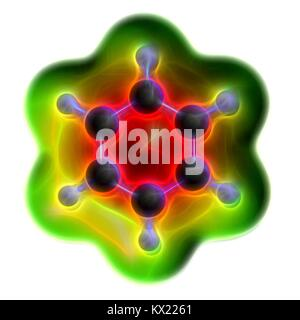 Computer illustration of a benzene aromatic hydrocarbon molecule. Important in petrochemistry, component of gasoline. - Stock Photo