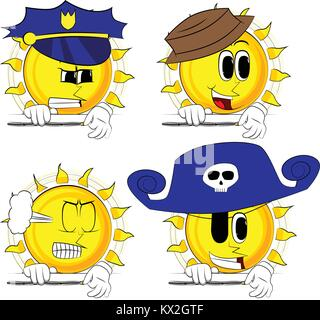 Cartoon sun zipping a banner. Collection with costume. Expressions vector set. - Stock Photo