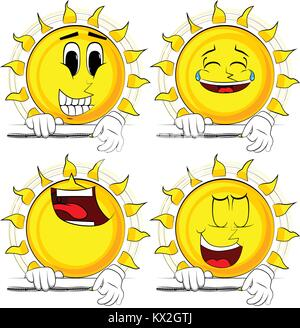 Cartoon sun zipping a banner. Collection with happy faces. Expressions vector set. - Stock Photo