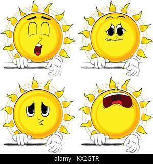 Cartoon sun zipping a banner. Collection with sad faces. Expressions vector set. - Stock Photo