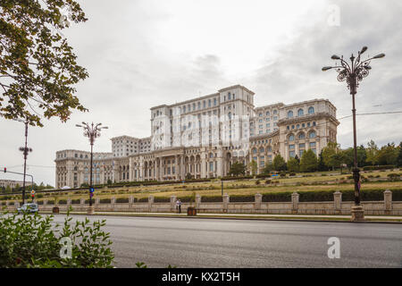 Palace of the Parliament (House of the Republic), largest administrative building in the world, Bucharest, capital - Stock Photo