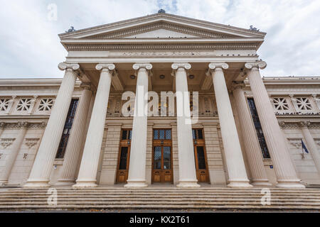 Romanian Athenaeum, a concert hall in Bucharest, capital city of Romania, central Europe home of the George Enescu - Stock Photo