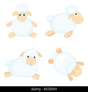 Sheep in cartoon style isolated on white background. Sheep in different poses. Vector illustration. - Stock Photo