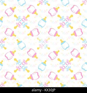 Baby bottle and Baby's dummy. Comforter seamless pattern background. Kids seamless pattern. EPS 10 - Stock Photo