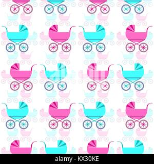 Nice seamless pattern with retro baby carriages. Vector EPS 10 - Stock Photo