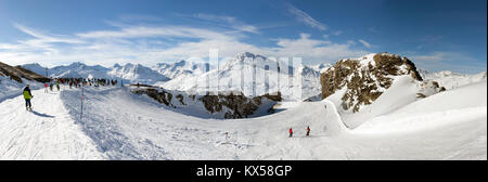 VAL CENIS, FRANCE - DECEMBER 31, 2017: Panoramic winter view of the Col de la Met, a mountain pass in the ski resort - Stock Photo