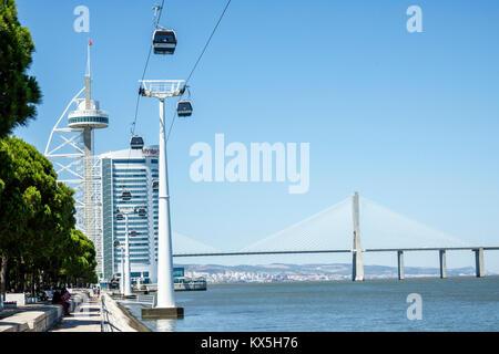 Lisbon Portugal Tagus River Oriente Parque das Nacoes Park of the Nations Vasco da Gama Tower waterfront bridge - Stock Photo