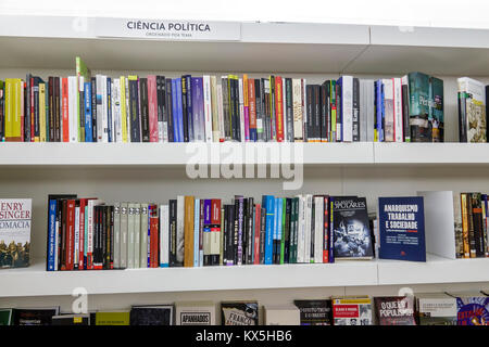 Lisbon Portugal Oriente Parque das Nacoes Park of the Nations Livraria Almedina bookstore bookseller books shelves - Stock Photo