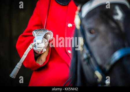 Member of the Household Cavalry stands guard on horseback at Horse Guards Parade, Whitehall London - Stock Photo