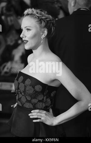 London, UK, 19/04/ 2012:  ( Image digitally altered to monochrome )  Scarlett Johansson attends the Avengers Assemble - Stock Photo