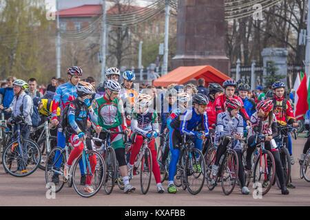 Gomel, Belarus - April 10, 2016: Velosports on Lenin Square at the opening of bicycling season 2016 - Stock Photo