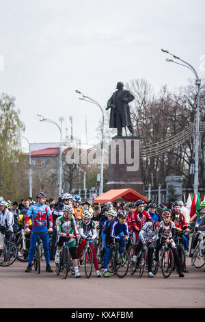 Gomel, Belarus - April 10, 2016: Bicyclists city Gomel getting ready to start the bike ride on Lenin Square - Stock Photo