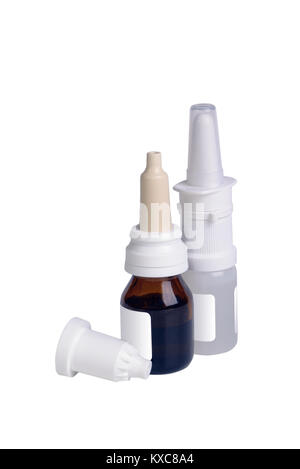 Two bottle with nasal drops isolated on white - Stock Photo