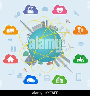 smart city on global ground with various technological icons, futuristic cityscape and modern lifestyle, smart gird, - Stock Photo