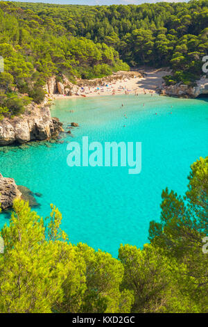 View of Cala Mitjana, Menorca, Balearic Islands, Spain - Stock Photo