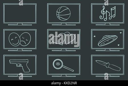 Movie TV genres symbol set, vector - Stock Photo