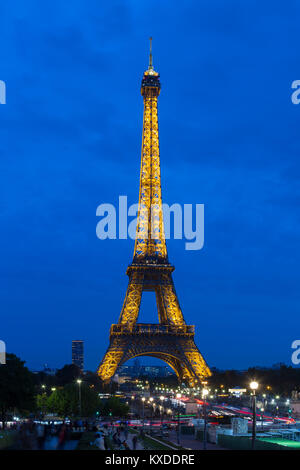 Eiffel Tower,north-west view,at dusk,Paris,France - Stock Photo