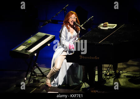 The American singer-songwriter, composer and pianist Tori Amos performs a live concert at Koncerthuset in Copenhagen. - Stock Photo