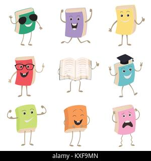 Cute Humanized Books Characters Representing Different Types Of Literature, Kids And School. Set of funny book characters, - Stock Photo