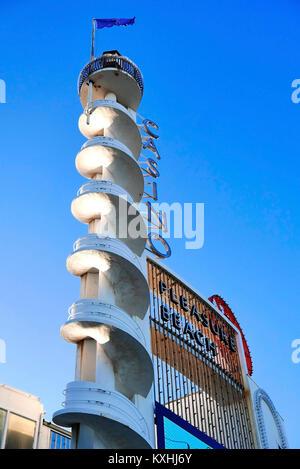 Pleasure Beach white tower casino designed by architect Frank Emberton in 1938 - Stock Photo
