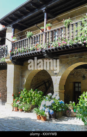 Typical house with gate in Barcena Mayor Cantabria - Stock Photo