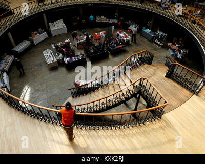 View from the top balcony in the Corn Exchange, Leeds, England, UK - Stock Photo