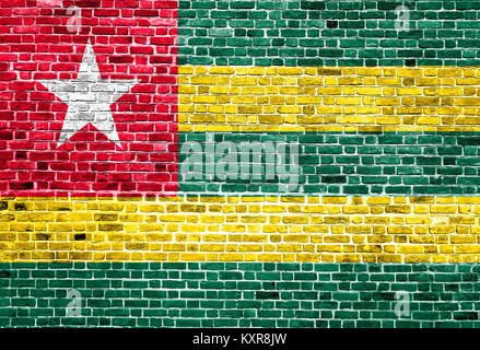 Flag of Togo painted on brick wall - Stock Photo