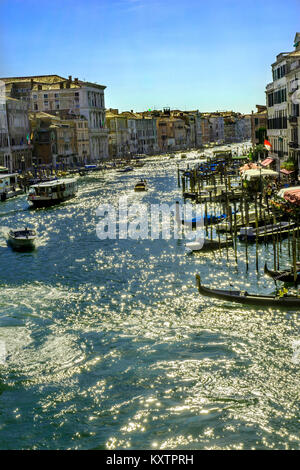 Colorful Grand Canal Public Ferries Vaporetto Ferry Docks From Rialto Bridge Touirists Grand Canal Venice Italy - Stock Photo
