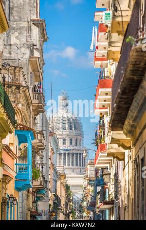 Havana, Cuba alley and Capitolio. - Stock Photo