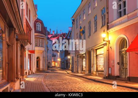 Evening street in the Old Town, Tallinn, Estonia - Stock Photo