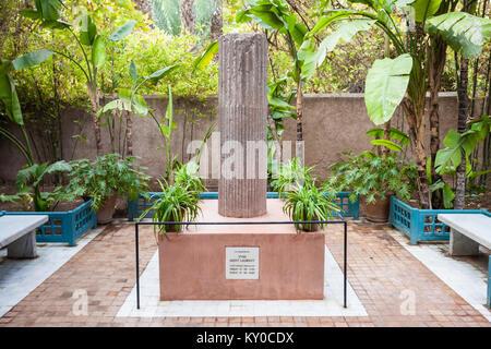 MARRAKECH, MOROCCO - FEBRUARY 22, 2016: Yves Saint-Laurent monument in Majorelle Garden in Marrakech, Morocco. - Stock Photo