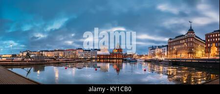 Helsinki, Finland. Panoramic View Of Pier, Embankment On Kanavaranta Street, Uspenski Cathedral And Pohjoisranta - Stock Photo