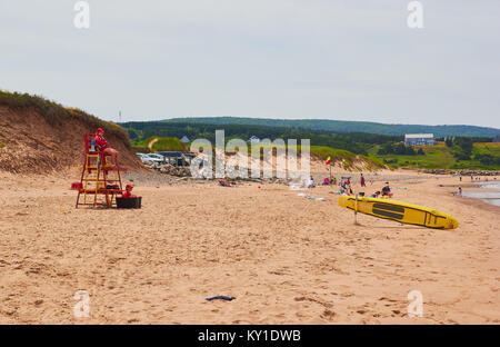 Lifeguards, Inverness beach, Inverness County, Cape Breton Island, Nova Scoatia, Canada. West coast of Cape Breton - Stock Photo
