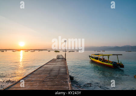 Beautiful beach at Gili Trawangan, or simply Gili T, is the largest of the three Gili Islands off Lombok. The island - Stock Photo