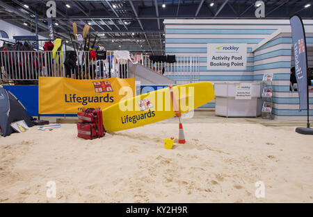 ExCel, London, UK. 12 January, 2018. The five day London Boat Show sees crowds attending on day 3, with exhibitors - Stock Photo
